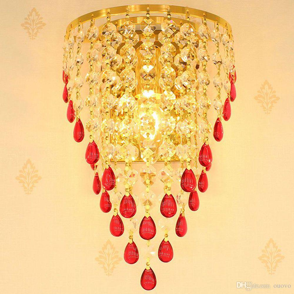 2018 Golden Tv Background Crystal Egg Hanging Wall Lights Bedroom Bedsides  Corridor Luxury Wall Sconce European Living Room Wall Lamp From Ouovo, ...