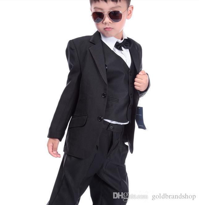Boy's Formal Wear Children Suit Boys Dress Suit Flower Suit Wedding Stage Performance Clothing Children Tuxedos Jacket+Pants+Vest+Tie