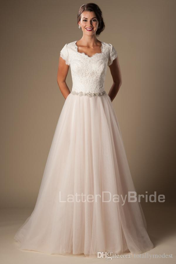 cheap modest wedding dresses ivory champagne lace tulle modest wedding dresses 2621