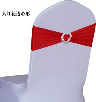 2016 Wholesale-Free shipping 100pcs Elastic Lycra Chair Sash Bands Wedding Spandex Chair Bands With Heart Shape Plastic Buckle