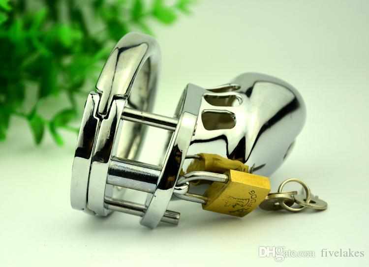Top Quality Stainless Steel male padlock chastity device BDSM bondage Small Metal cock cages Virginity Lock Penis Ring Adult Sex Toys