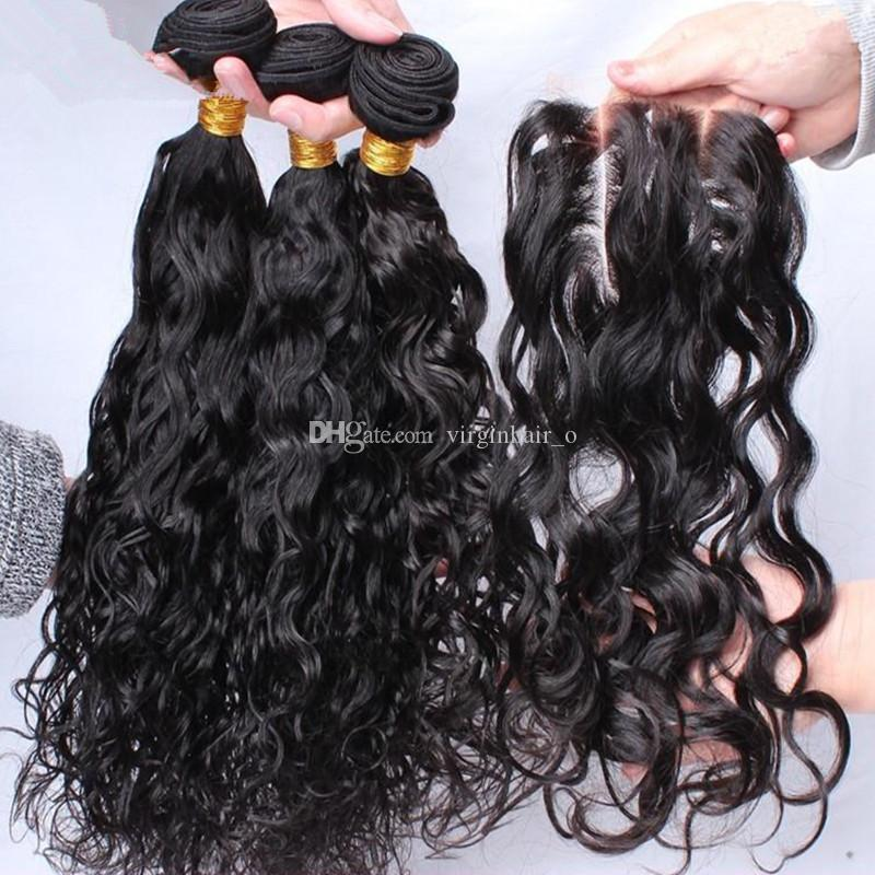 Brazillian Water Wave With Lace Closure Free Middle 3 Way Part