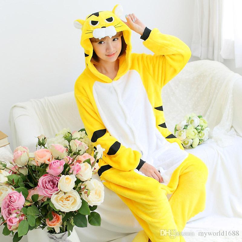New Arrival Hot Sale Lovely Cheap Kigurumi Pajamas Anime Tiger Cosplay Costume Unisex Adult Onesie Yellow Dress Sleepwear