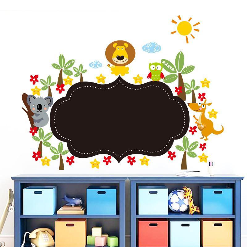 newest DIY animals zoo lion kangaroo Koalas bird flower tree Chalkboard Blackboard home decal wall sticker for kids room nursery