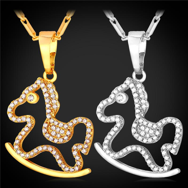 U7 cute horse pendant necklace for women trendy 18k real gold u7 cute horse pendant necklace for women trendy 18k real goldplatinum plated aaa cubic zirconia pendants lucky jewelry perfect gifts pendant necklace cute aloadofball Images