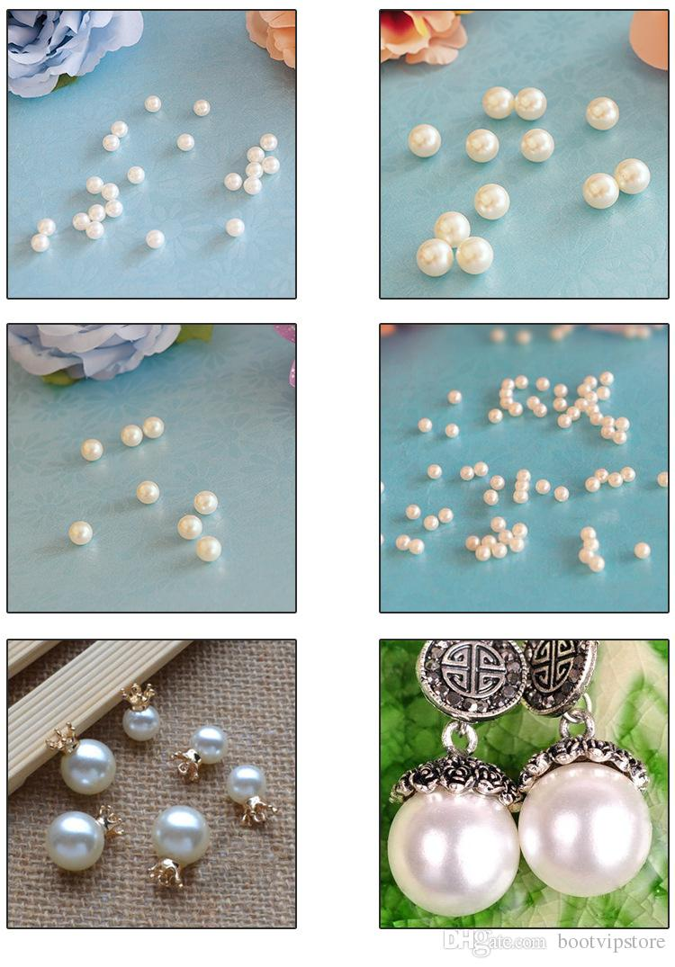 Top Grade Beige White Color DIY Handmade Beaded Jewelry Accessories Material ABS Imitation Pearls Scattered Beads without Holes Beads 3~16MM