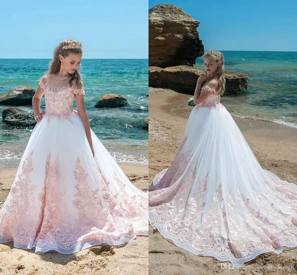 2018 Ivory Pink Lace Flower Girls Dresses Sheer Neck Cap Sleeves