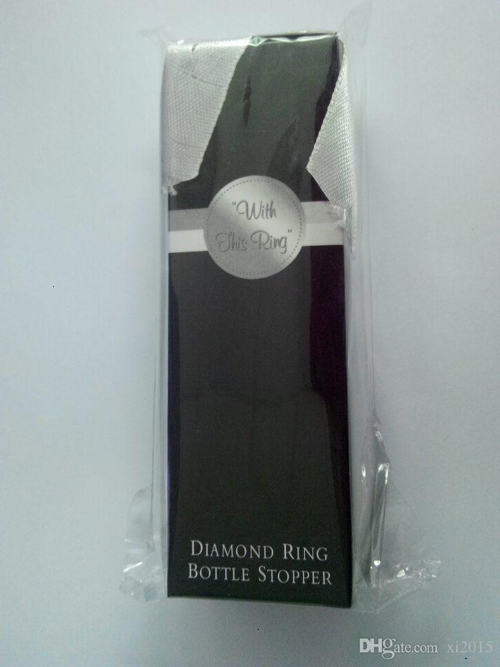 تفضل الزفاف والهدايا للضيوف. الإبداعية سدادة زجاجة النبيذ خاتم الماس مع التعبئة والتغليف رائعة wen4452