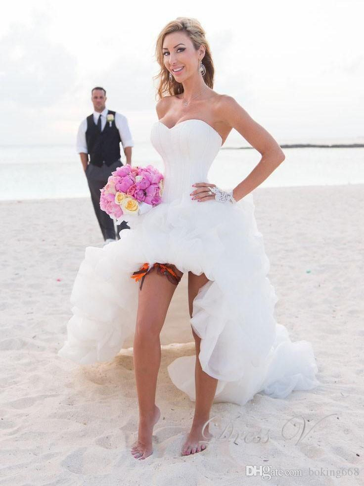 Beach Wedding Dresses 2018 High Front Low Back Puffy Lovely Wedding