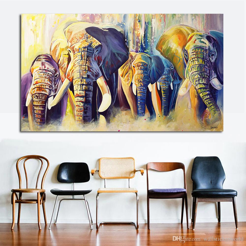 2019 Home Decor Oil Painting A Group Of Elephants Wall Pictures For Living Room Paintings On Canvas No Frame From Wallstickerworld 2496