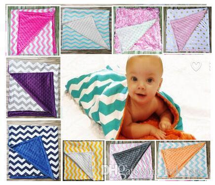 8色のドットシェブロンコットンスワッドリム赤ちゃんミンキーラップスワッドリングブランケット新生児幼児スワドルタオル有名種多機能