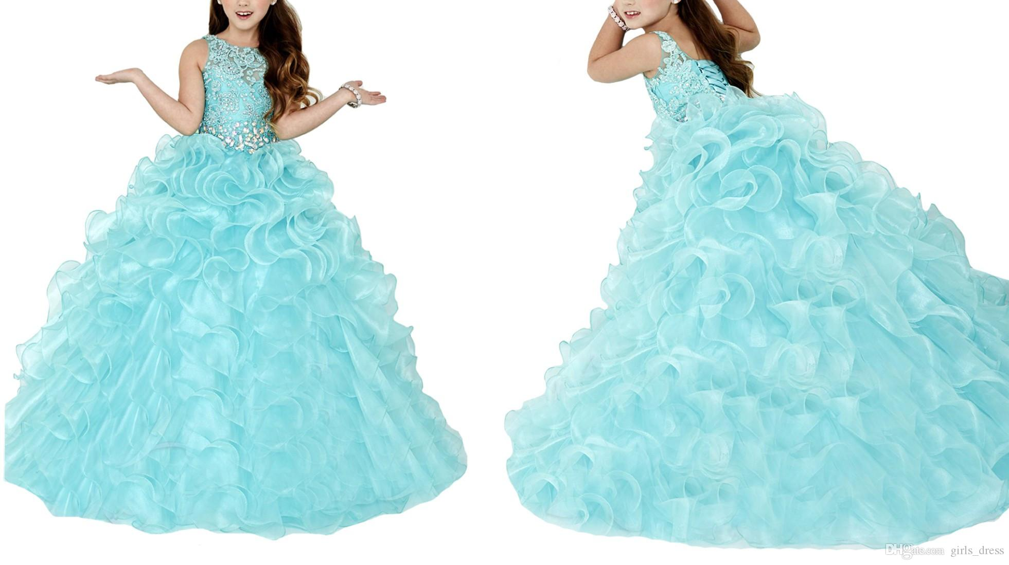 Princess Baby Blue Party Dress For Cute Girl Pageant Dresses Ruffles Organza Sequins Flower Junior Teens Ball Gowns