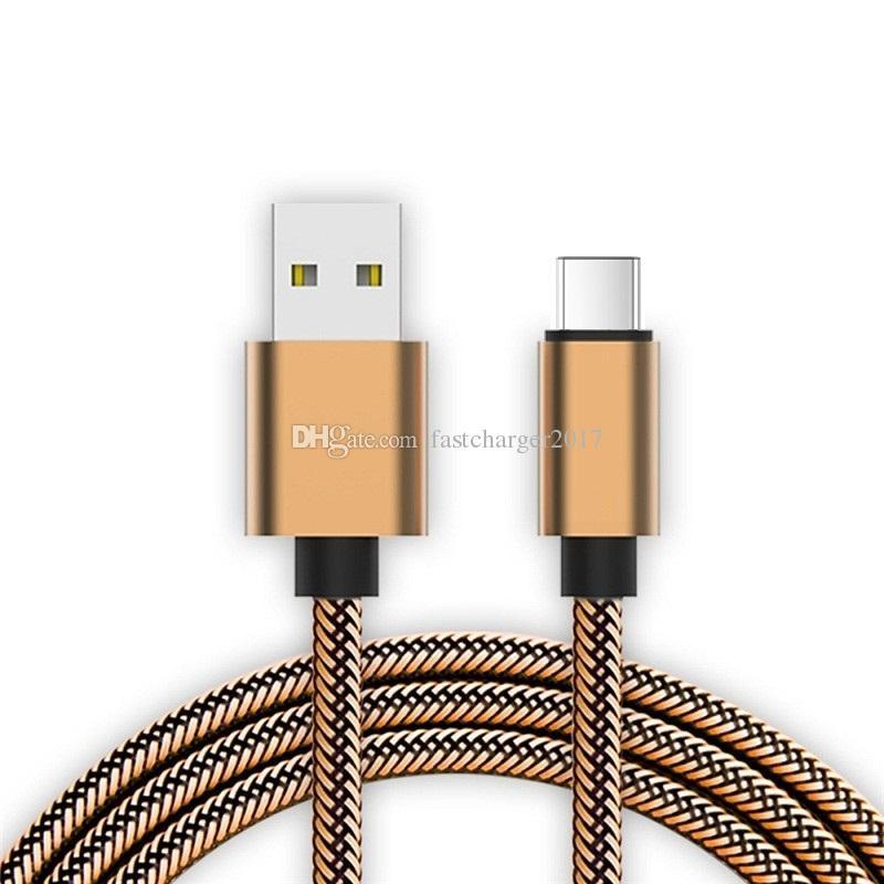 1m 2m 3m Nylon Intrecciato Data Cavo tipo C Cavi micro USB Samsung Galaxy S6 S7 Edge S8 Nota 8 Plus HTC Android Phone