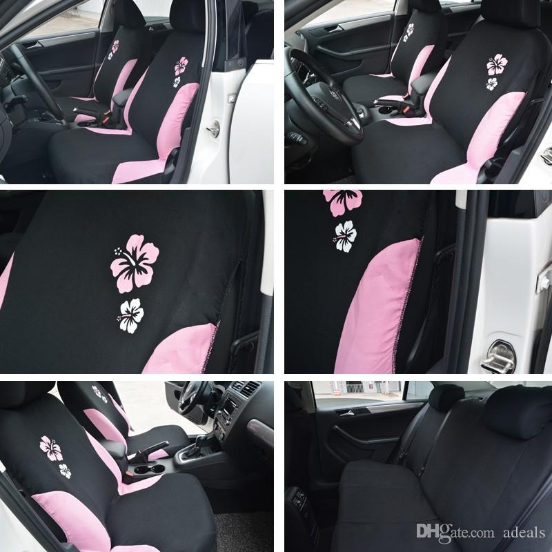 Car Seat Covers For Women Styling Universal Fit Most Airbag Compatible Pink Color With Flower Embroidery Cover Set From