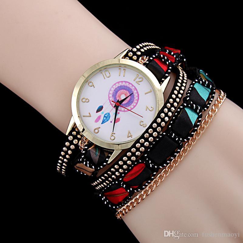 L'orologio a più strati d'annata casuale delle 2016 donne delle nuove donne dell'involucro del tessuto rivetta i colori 6 dell'orologio del braccialetto del braccialetto all'ingrosso Trasporto libero