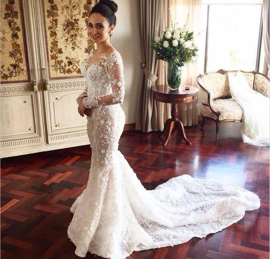 3d Floral Appliques 2018 Wedding Dresses Long Sleeves Full Lace Over ...