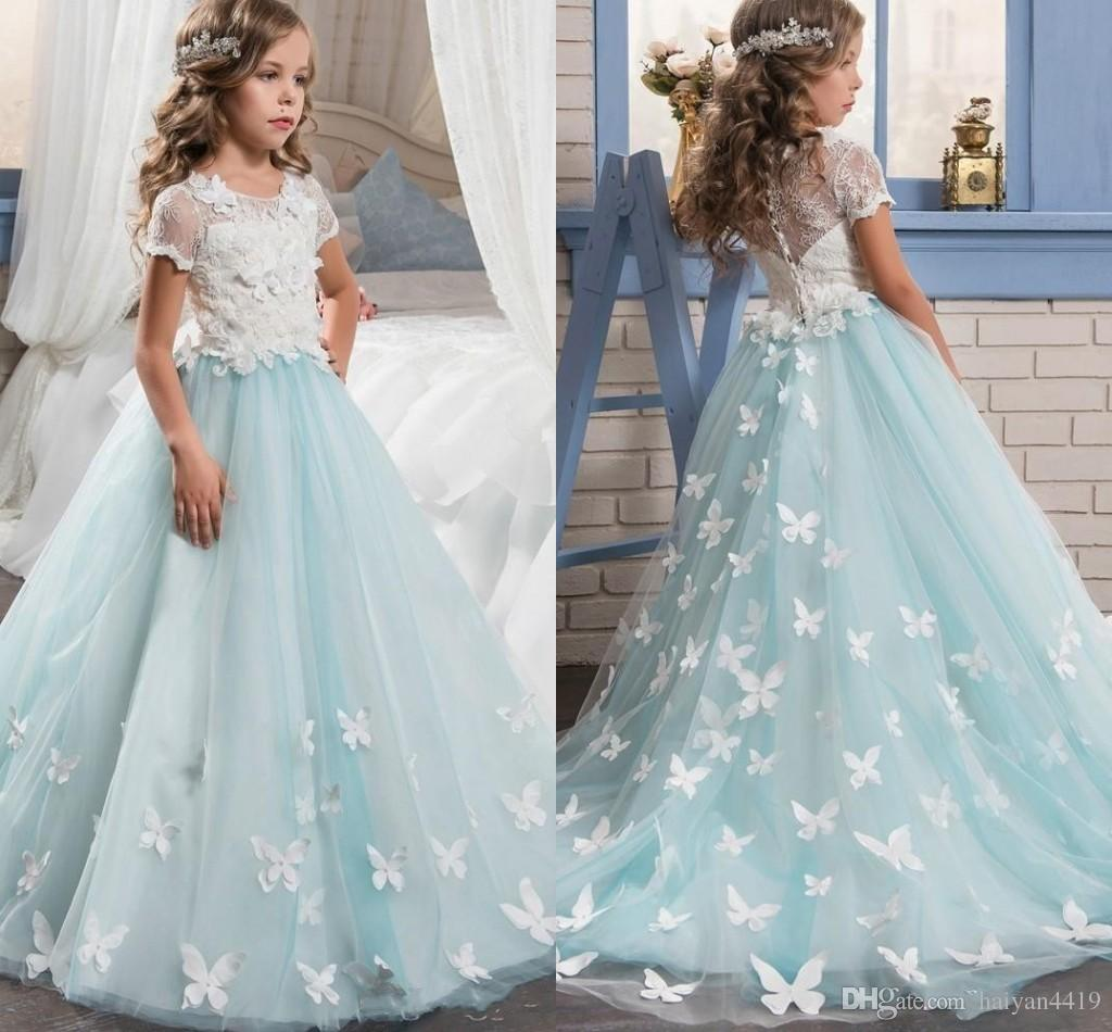 2017 Hot Flower Girls Dresses For Weddings Lace Appliques Short Sleeves Tulle Sweep Train Birthday Dress Children Party Kids Girl Ball Gowns