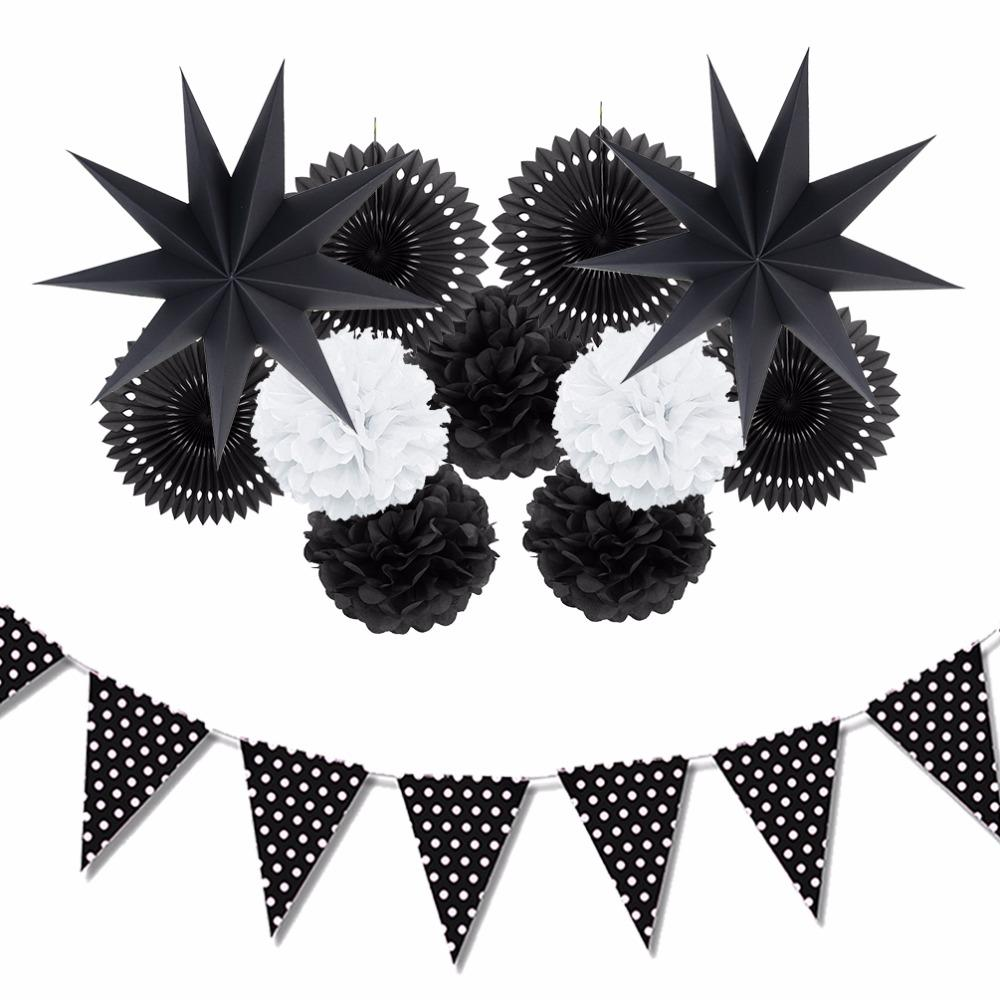 43450ab3c907 Sunbeauty  Set Black And White Theme Party Decoration Paper Fan Pompoms  Decor Home Party Supplies Hanging Ideas For Party Best Christmas Decor Best  ...