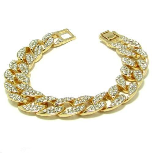 Men's Luxury Simulated Diamond Fashion Bracelets & Bangles High Quality Gold Plated Iced Out Miami Cuban Bracelet Hip Hop