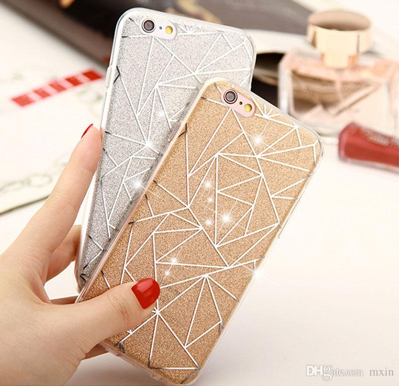 new concept f5aba 6d388 Bling Luxury Glitter Powder Silver Rhombus Soft TPU Gel Case Cover for  iPhone 5 5S SE 6 6S 7 8 Plus X 10 iPhone8 iPhoneX