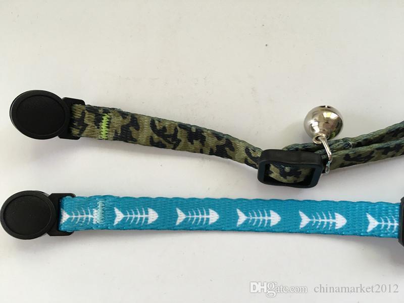 Livraison gratuite animal chat col en nylon camouflage bleu poisson échappée boucle avec argent bell /