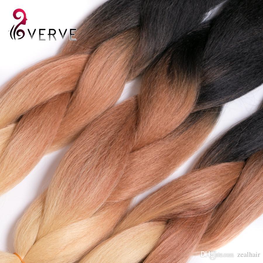 VERVES Ombre Плетение Волос три тона 24inch Высокотемпературного Волокна ombre Плетение Волос Яки стиль густые синтетические волосы пучки