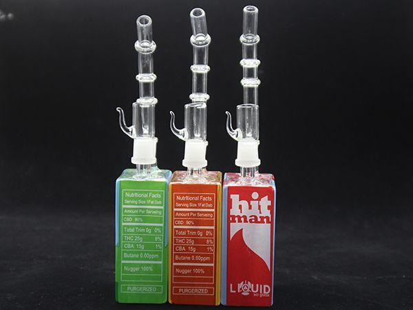 2016 plus récent Hitman Mini verre liquide truque verre céréales huile Boîte Dab Rig Hitman mini bong en verre avec des pointes de goutte à goutte amovible