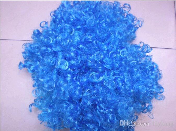 Halloween disco curly wig Rainbow Afro wigs Clown Child Adult Costume Football Fan Wig Hair Fan Fun