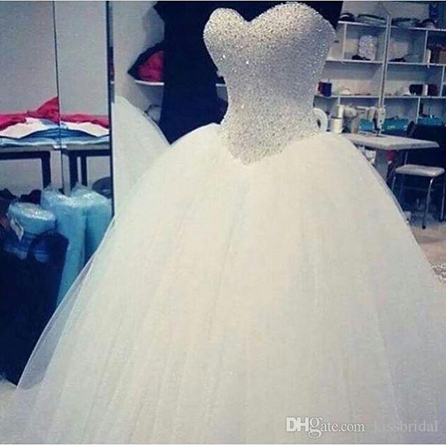White Princess Ball Gown Wedding Dresses with Beaded Sweetheart Lace-up Court Train Victorian Bridal Gowns dress gown