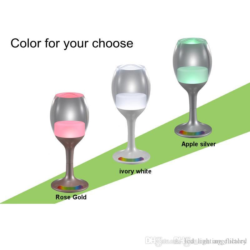 Wine Glasses Rechargeable LED Cup Night Light Decor Bar USB Charging Cord 7 Color Changing Base Novelty Lighting Touch Sensor LED Table Lamp