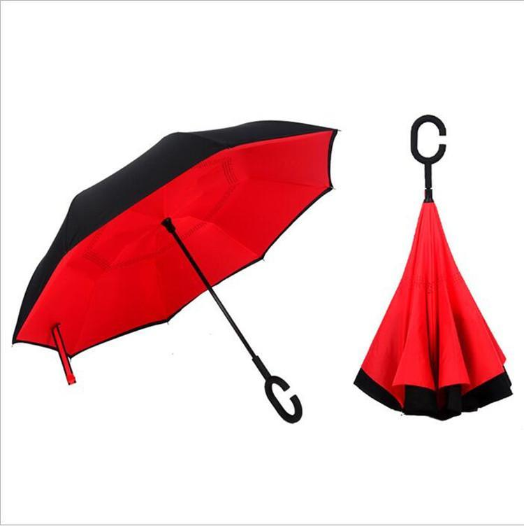 Windproof Reverse Folding Double Layer Inverted Chuva Umbrella Self Stand Inside Out Rain Protection C-Hook Hands DHL free