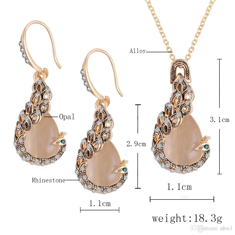 Austrian Crystal Circle Opal Peacock Jewelry Sets Pendientes Peacocks Necklace Drop Earrings Set For Women Gift joyeria