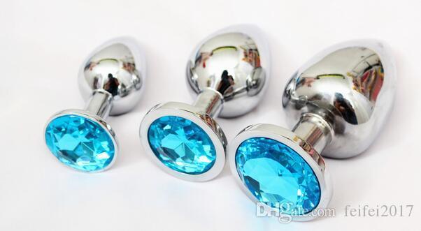 Plug anale in metallo 3 misure 7,5cm 8,5 centimetri 9,5 centimetri giocattoli anali, butt plug, bottino perline, colori casuali metallo + gioiello di cristallo 19
