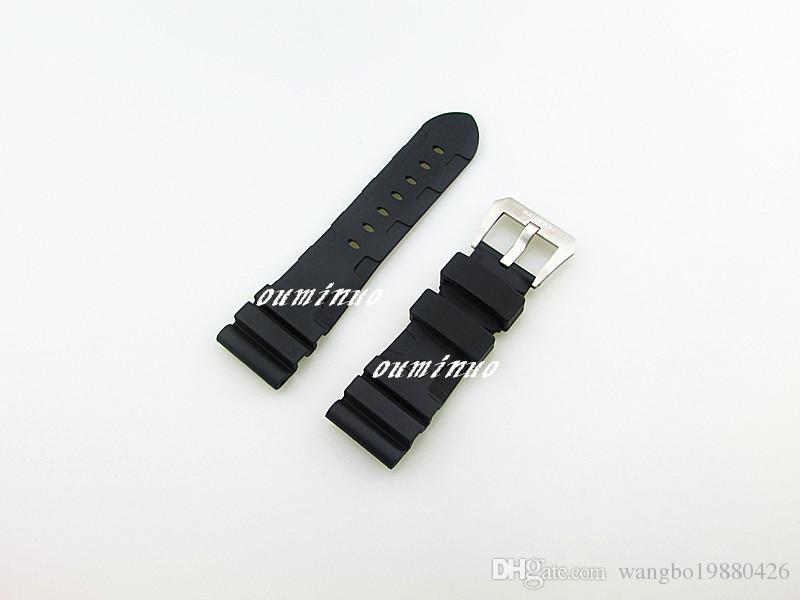 26mm YENİ Yüksek Kalite Erkekler Siyah Dalış Silikon Kauçuk İzle BAND Kayışı ile Pin Toka İçin Panerai İzle