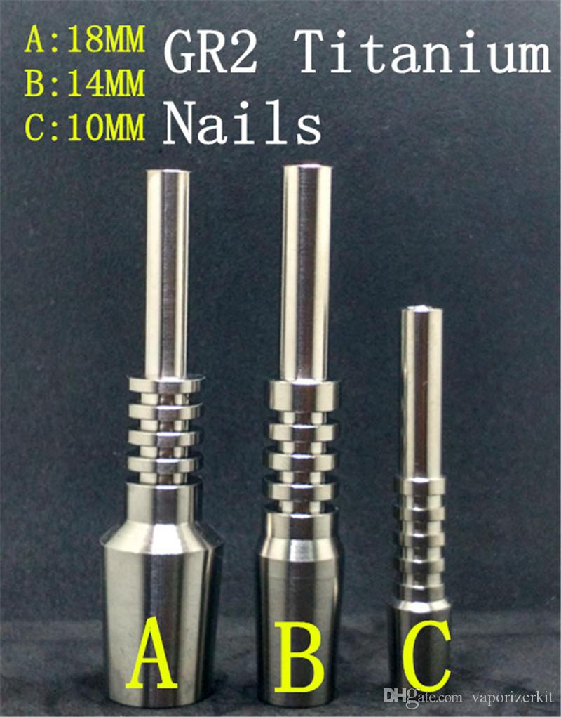 Titanium Nail Nectar Collector Joints 10mm 14mm 18mm GR2 Titanium Nails for Honey Dab Straw Concentrate Glass Water Pipe Bong Oil Rigs