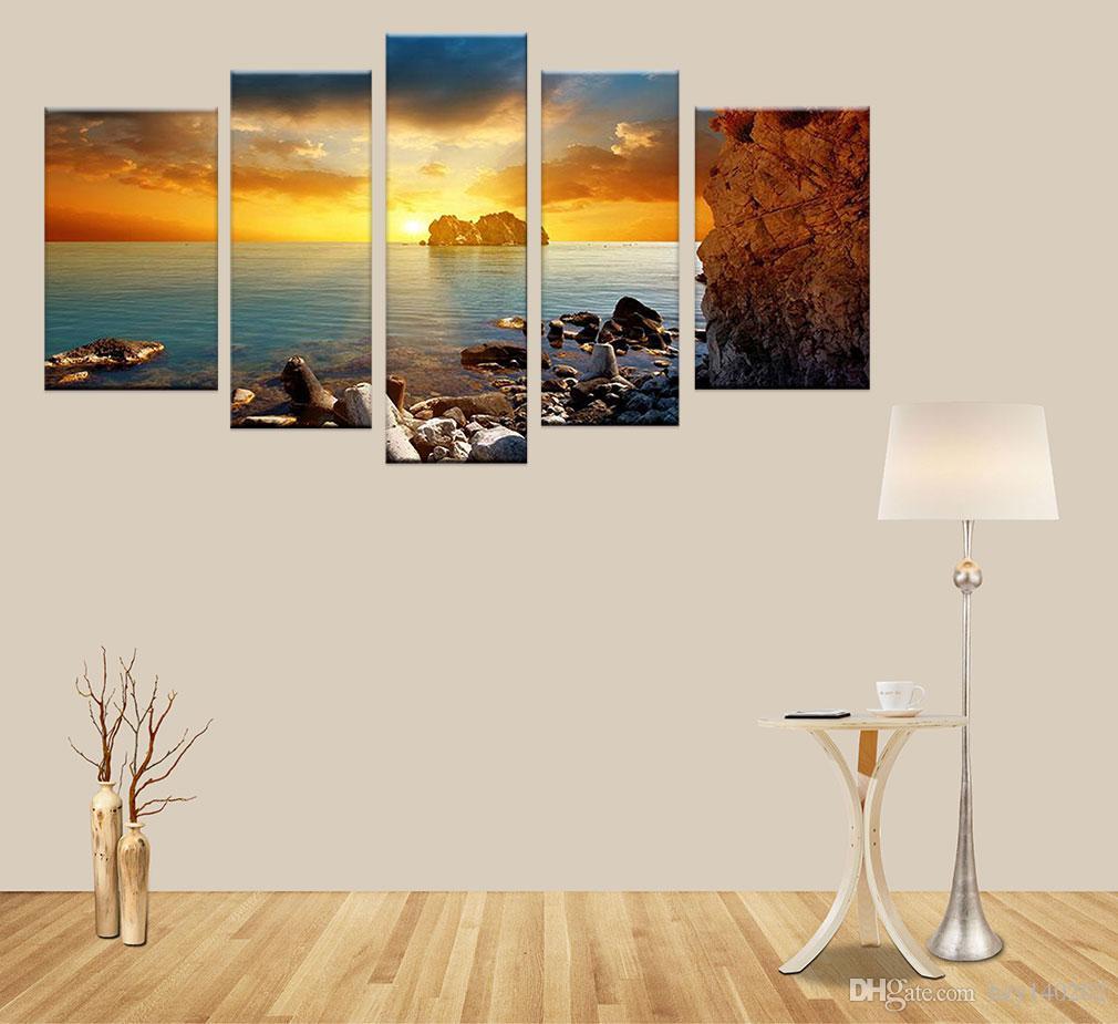 2018 Yijiahe Landscape Print Canvas Painting The Setting Sun Canvas ...