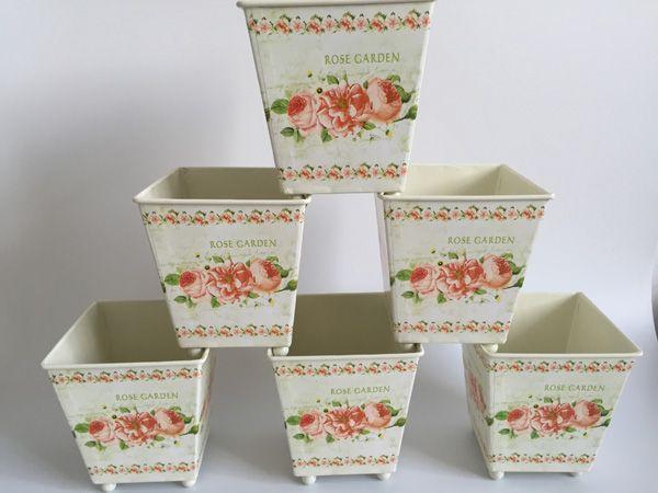 Artificial Metal Planter Square Europe Pot dry Flower Pot Tin Vase Wedding Favor Holder Centerpieces