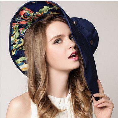 Mujer Floppy plegable Reversible Sombrero de sol ancho Gran borde Cap Verano Playa Floral Dos lados Sombrero Protección UV