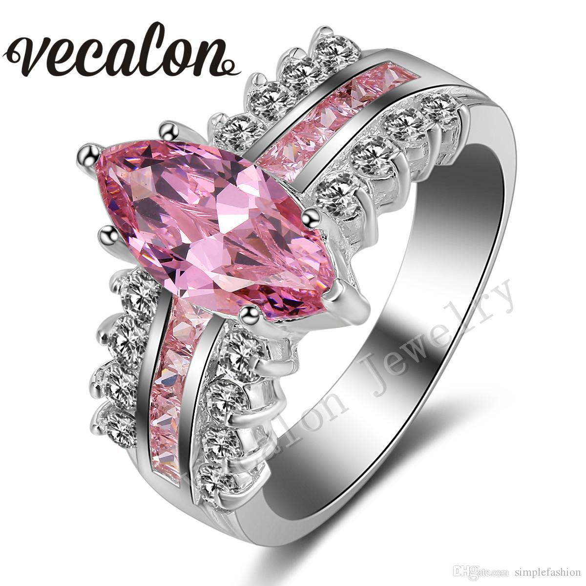 2018 vecalon engagement wedding ring set for women marquise cut 5ct pink simulated diamond cz 925 sterling silver female band ring from simplefashion - Pink Wedding Ring Set
