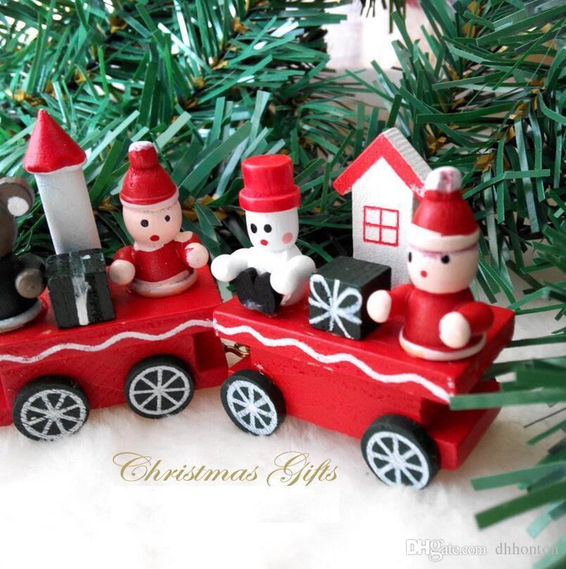 Pequeno trem de madeira Artesanato de natal artigos de decoração de madeira de Natal pequeno trem quatro produtos de Natal um presente de aniversário CT09