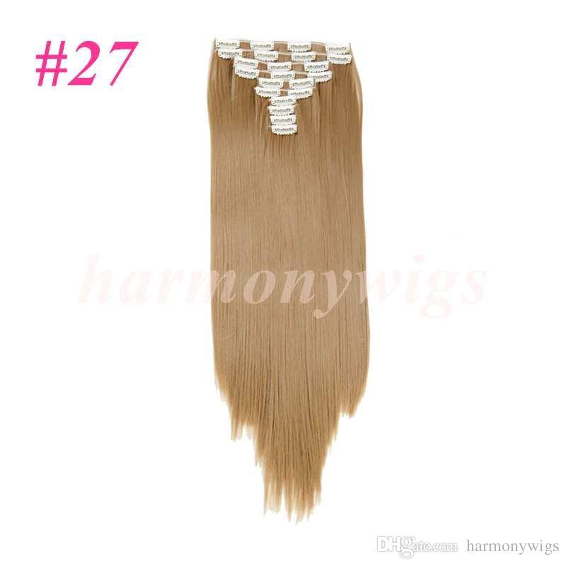 10 pz / set Clip sintetica capelli estensioni capelli lisci 25 inch 160g Clip capelli estensioni i