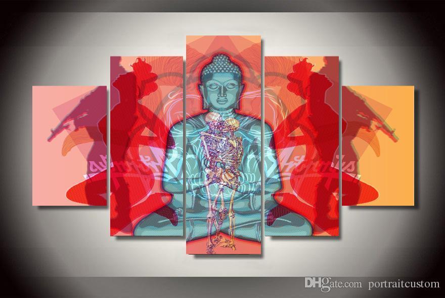 Çerçeveli Ile 5 Adet Baskılı Buda Grup Boyama tuval odası dekorasyon baskı posteri resim tuval çerçeveli, modern soyut yağlıboya