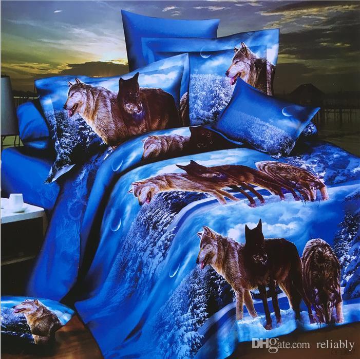 top Home Textiles 3D animal Coton de literie, housse de couette / drap de lit en coton réactif