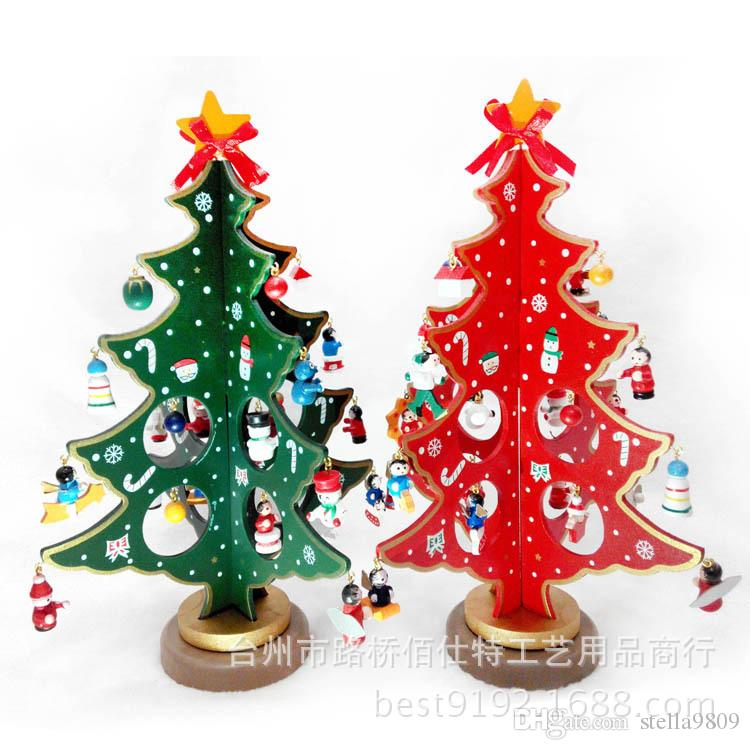 features hot sale mini wooden christmas tree table