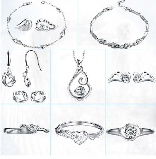 Real bonito das mulheres 925 Sterling Silver Asas de Anjo de Cristal Rhinestone Ear Stud Brincos Jóias Coração Stud Ear Cor: Prata