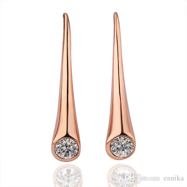 18K Gold Earrings , 18K Plated Earrings , Fashion Gold Plated Zircon Water Drop Earrings High Quality E096