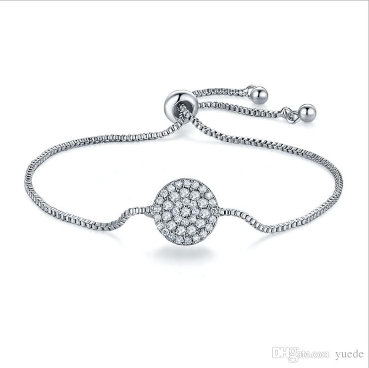 Sale Fashion jewelry 925 Silver crystal heart charm bracelet Crystals from Swarovski for women Pandora Wedding jewelry