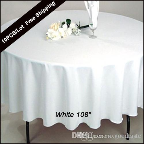 Pleasing 10Pc Pack 108 Inch Round Wedding Table Cloth 100 Polyester Seamless White Cheap Tablecloths Fitted Home Table Cloth Oval For Wedding Decor Beutiful Home Inspiration Ommitmahrainfo