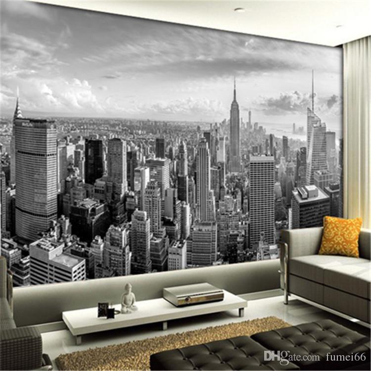 5d Papel Murals New York City Building Scenery Black White 3d Photo Mural Wallpaper For Living Room Background 3d Wall Mural Phone Wallpapers Photo