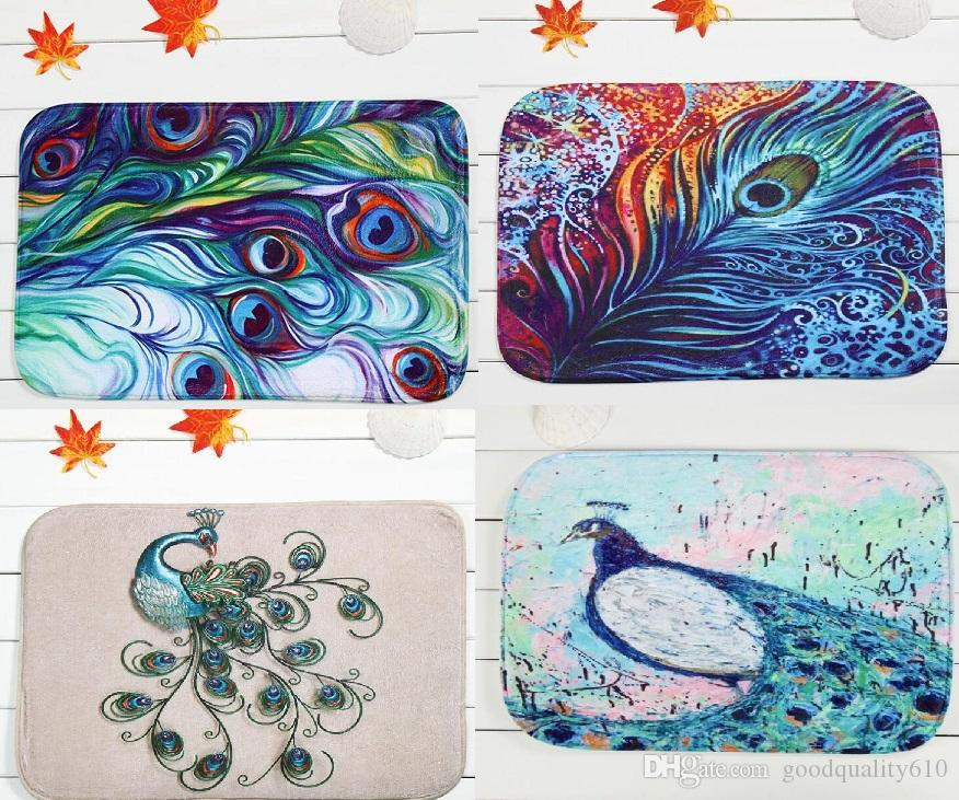 4060cm peacock series bath mats anti slip rugs coral fleece carpet for for bathroom bedroom doormat online frieze carpet prices office carpet texture from